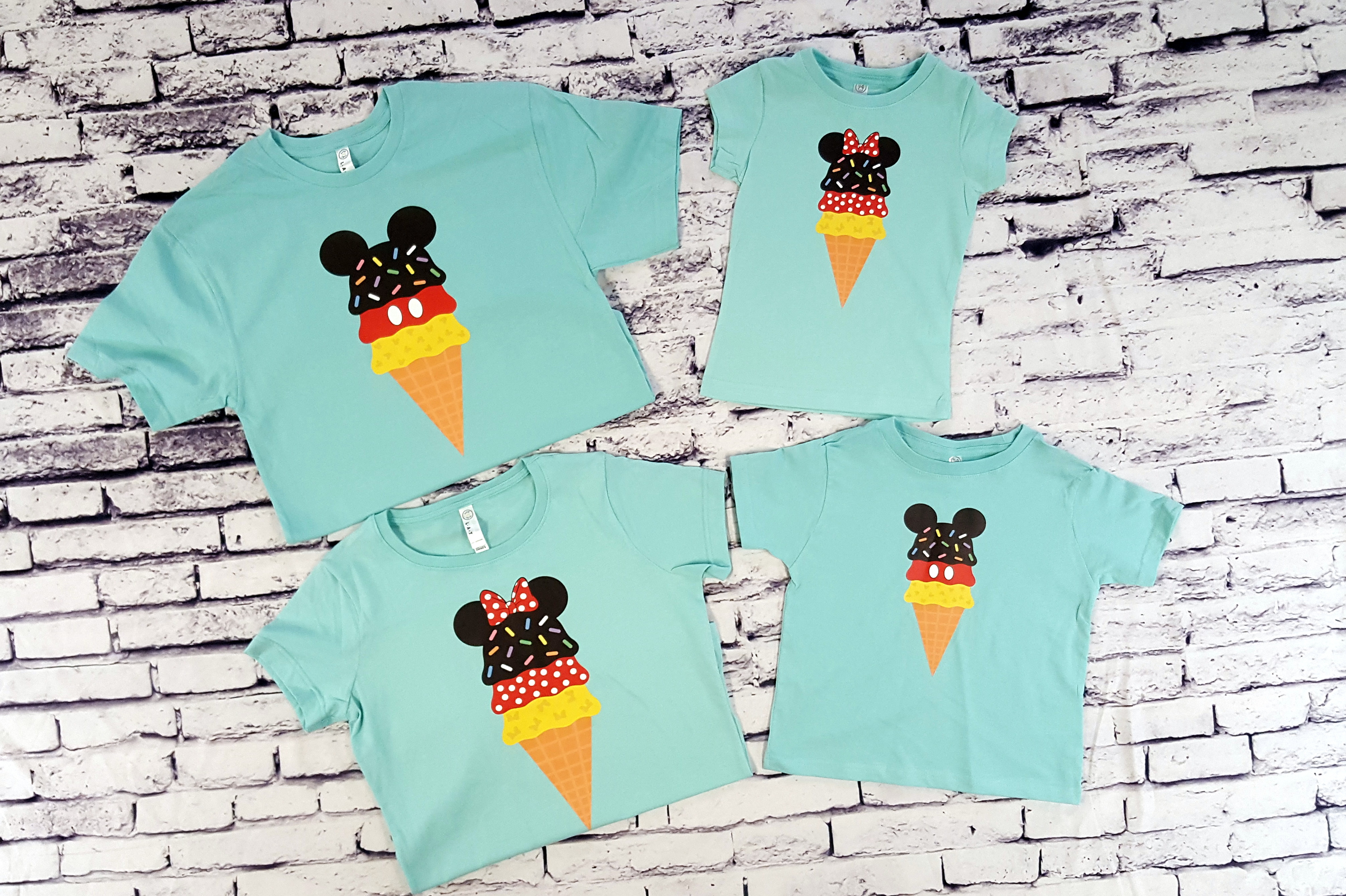 7ada77157 Matching Mickey and Minnie Ice Cream Cone Food Shirts For Your ...